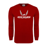 Cardinal Long Sleeve T Shirt-Rose-Hulman Track & Field w/ Wings