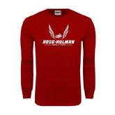 Cardinal Long Sleeve T Shirt-Rose-Hulman Track & Field w/ Wings