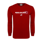 Cardinal Long Sleeve T Shirt-Rose-Hulman Baseball w/ Flying Ball