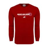 Cardinal Long Sleeve T Shirt-Rose-Hulman Baseball w/ Flying Ball