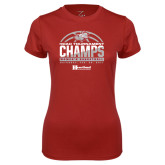 Ladies Syntrel Performance Cardinal Tee-HCAC Tournament Champs - Womens Basketball 2017 Half Ball