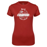 Ladies Syntrel Performance Cardinal Tee-2017 HCAC Tournament Champions - Womens Basketball Lined Ball