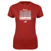 Ladies Syntrel Performance Cardinal Tee-2017 HCAC Tournament Champions Repeating - Womens Basketball
