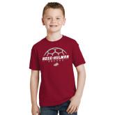 Youth Cardinal T Shirt-Rose-Hulman Soccer Stacked w/ Ball