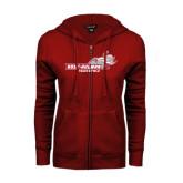 ENZA Ladies Cardinal Fleece Full Zip Hoodie-Track & Field