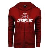 ENZA Ladies Cardinal Fleece Full Zip Hoodie-Heartland Conference Champions Football 2016