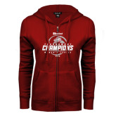 ENZA Ladies Cardinal Fleece Full Zip Hoodie-Heartland Conference Tournament Champions Womens Tennis 2016