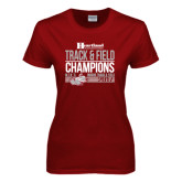 Ladies Cardinal T Shirt-Heartland Conference Tournament Champions Mens Indoor Track and Field 2017