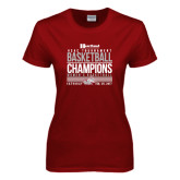 Ladies Cardinal T Shirt-HCAC Tournament Champions - Womens Basketball Stacked