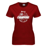 Ladies Cardinal T Shirt-2017 HCAC Tournament Champions - Womens Basketball Lined Ball