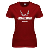 Ladies Cardinal T Shirt-2017 HCAC Mens Outdoor Track and Field Champions