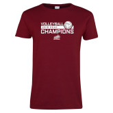 Ladies Cardinal T Shirt-2018 HCAC Volleyball Champions