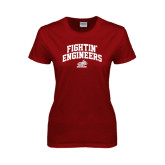 Ladies Cardinal T Shirt-Fightin Engineers Arched