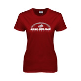 Ladies Cardinal T Shirt-Rose-Hulman Football w/ Football Horizontal