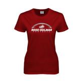 Ladies Cardinal T Shirt-Rose-Hulman Football w/ Football Horizontal