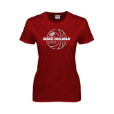 Ladies Cardinal T Shirt-Rose-Hulman Basketball w/ Lined Ball