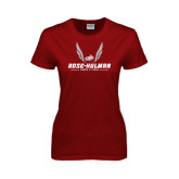 Ladies Cardinal T Shirt-Rose-Hulman Track & Field w/ Wings