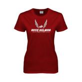 Ladies Cardinal T Shirt-Rose-Hulman Track & Field w/ Wings
