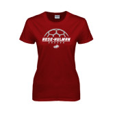 Ladies Cardinal T Shirt-Rose-Hulman Soccer Stacked w/ Ball