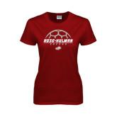 Ladies Cardinal T Shirt-Rose-Hulman Soccer Stacked w/ Ball