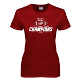 Ladies Cardinal T Shirt-Heartland Conference Champions Football 2016
