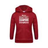 Youth Cardinal Fleece Hoodie-HCAC Tournament Champions - Womens Basketball Stacked