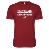 Next Level SoftStyle Cardinal T Shirt-2018 HCAC Volleyball Champions