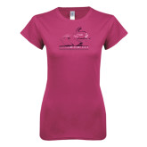 Ladies SoftStyle Junior Fitted Fuchsia Tee-Rosie with Rose-Hulman Foil