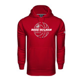 Under Armour Cardinal Performance Sweats Team Hoodie-Rose-Hulman Basketball w/ Lined Ball