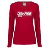 Ladies Cardinal Long Sleeve V Neck T Shirt-2017 Mens Cross Country Champions