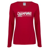 Ladies Cardinal Long Sleeve V Neck T Shirt-2017 Womens Cross Country Champions
