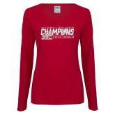 Ladies Cardinal Long Sleeve V Neck T Shirt-2017 Womens Cross Country Champions