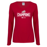 Ladies Cardinal Long Sleeve V Neck Tee-Mens Swimming and Diving Champions
