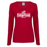 Ladies Cardinal Long Sleeve V Neck T Shirt-Mens Track and Field Champions
