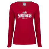 Ladies Cardinal Long Sleeve V Neck T Shirt-Womens Track and Field Champions