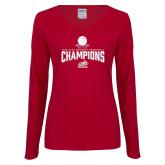 Ladies Cardinal Long Sleeve V Neck Tee-Womens Basketball Champions