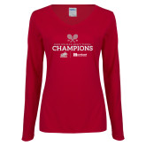 Ladies Cardinal Long Sleeve V Neck Tee-Mens Tennis Champions