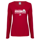 Ladies Cardinal Long Sleeve V Neck Tee-2018 HCAC Volleyball Champions