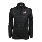 Black Heather Ladies Fleece Jacket-Rosie with Rose-Hulman
