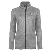 Grey Heather Ladies Fleece Jacket-Rosie with Rose-Hulman