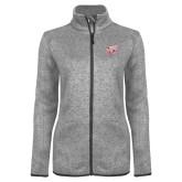 Grey Heather Ladies Fleece Jacket-Rosie with Rose-Hulman