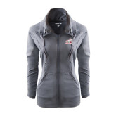 Ladies Sport Wick Stretch Full Zip Charcoal Jacket-Rosie with Rose-Hulman