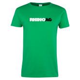 Ladies Kelly Green T Shirt-Wordmark