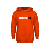 Youth Orange Fleece Hoodie-Wordmark