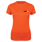 Ladies Syntrel Performance Orange Tee-Wordmark