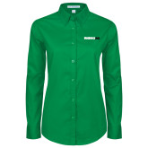 Ladies Kelly Green Twill Button Down Long Sleeve-Wordmark