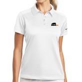 Ladies Nike Dri Fit White Pebble Texture Sport Shirt-Primary Mark