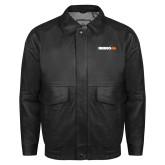 Black Leather Bomber Jacket-Wordmark