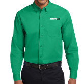 Kelly Green Twill Button Down Long Sleeve-Wordmark