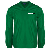 V Neck Kelly Green Raglan Windshirt-Wordmark